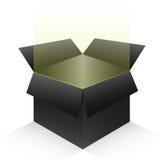Caixa aberta 3d do preto Fotos de Stock Royalty Free