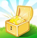Caixa aberta do tesouro com ouro Imagens de Stock Royalty Free