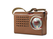 Caixa antiga do couro do rádio de transistor Imagem de Stock Royalty Free
