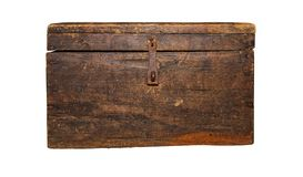 Caixa antiga, marrom, isolada no fundo branco fotografia de stock