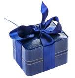 Caixa atual do azul com fita de seda Imagens de Stock Royalty Free