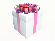 Caixa atual do branco com fita cor-de-rosa Ilustração do Vetor