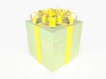 Caixa atual verde com fita amarela Ilustração Stock