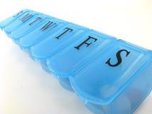 Caixa azul do comprimido Fotografia de Stock