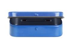 Caixa azul do metal Fotografia de Stock
