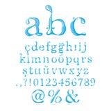 Caixa baixa do alfabeto da água ilustração do vetor