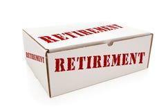 Caixa branca com aposentadoria nos lados isolados Fotos de Stock Royalty Free