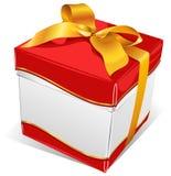 Caixa branca com fita do ouro Imagem de Stock Royalty Free