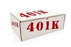 Caixa branca com o 401K nos lados isolados Fotografia de Stock