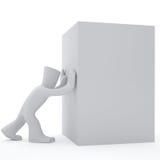 caixa branca do impulso do caráter 3d Imagens de Stock Royalty Free