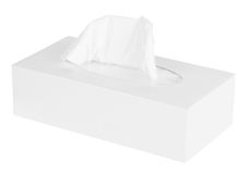 Caixa branca dos tecidos Fotos de Stock Royalty Free
