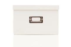 Caixa branca em branco do arquivo com a tampa no branco Imagens de Stock Royalty Free