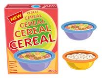 Caixa, cereal, bacia, papa de aveia Foto de Stock