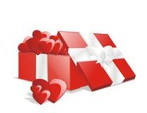 Caixa cheia do presente do presente do amor do vetor Fotografia de Stock Royalty Free