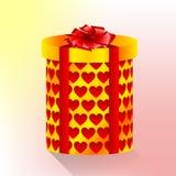 Caixa cilíndrica com corações Fotos de Stock