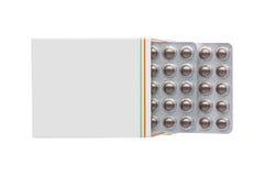 Caixa cinzenta com bloco de bolha marrom dos comprimidos imagens de stock