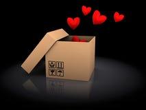 Caixa com corações Imagens de Stock