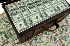 Caixa com dólar Fotografia de Stock