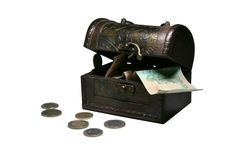 Caixa com dinheiro Fotografia de Stock