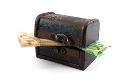 Caixa com euro Foto de Stock Royalty Free