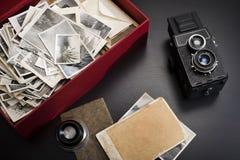 Caixa com fotos do vintage Imagem de Stock Royalty Free