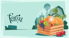 Caixa com fundo vegetal da terra de Eco da colheita ilustração do vetor