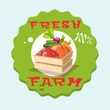 Caixa com logotipo fresco da exploração agrícola de Eco da colheita vegetal ilustração stock