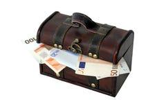Caixa com moeda européia Fotografia de Stock