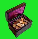 Caixa com moedas Foto de Stock Royalty Free