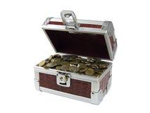 Caixa com moedas Imagem de Stock