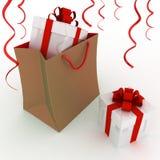 Caixa com os presentes no pacote Imagens de Stock