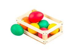 Caixa com ovos da páscoa Imagem de Stock