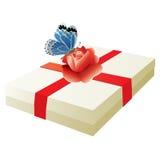 A caixa com um presente e levantou-se. Vetor. Foto de Stock Royalty Free