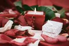 Caixa com um presente e uma vela no fundo das pétalas cor-de-rosa imagem de stock royalty free