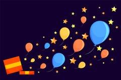 Caixa com uma surpresa e as bolas ilustração stock