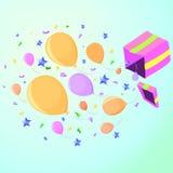 Caixa com uma surpresa no partido, cor-de-rosa ilustração royalty free