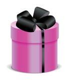 Caixa cor-de-rosa do presente com a fita e curva de seda pretas Ilustração do Vetor