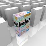 Caixa da ajuda do auxílio e do apoio do cliente na prateleira de loja ilustração stock