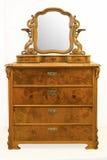 Caixa da antiguidade do vintage de gavetas velha, com um espelho Fotografia de Stock
