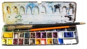 Caixa da aquarela Fotografia de Stock Royalty Free