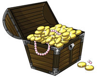 Caixa da arca do tesouro dos desenhos animados com moedas de ouro e colar da pérola Foto de Stock