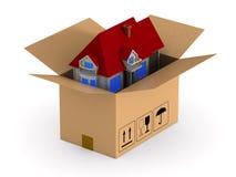 Caixa da carga com casa Ilustração 3d isolada ilustração do vetor