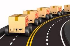 Caixa da carga com a roda na estrada Fundo branco Ilustração 3d isolada ilustração do vetor