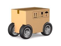 Caixa da carga com a roda no fundo branco Ilustra??o 3d isolada ilustração do vetor