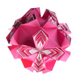 Caixa da cor-de-rosa do kusudama de Origami Fotos de Stock Royalty Free