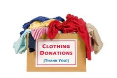 Caixa da doação da roupa Foto de Stock Royalty Free