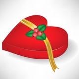Caixa da forma do coração do Natal com dedo do pé do mistle Imagens de Stock
