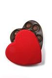 Caixa da forma do coração dos chocolates foto de stock