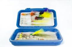 Caixa da mosca do Saltwater com moscas Imagens de Stock Royalty Free