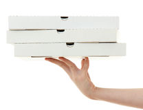 Caixa da pizza com mão Imagem de Stock Royalty Free